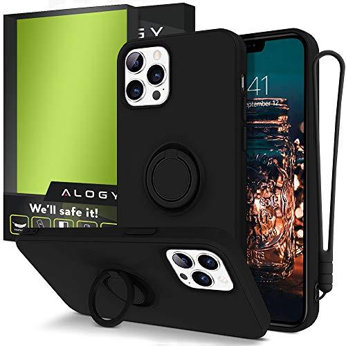 Alogy Funda para iPhone 12 Pro Max 6.7 | Funda para teléfono móvil con banda, soporte de anillo de 360 grados y soporte magnético para teléfono móvil | Carcasa de silicona negra