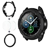 Goton 3 in 1 Accessories for Samsung Galaxy Watch 3 45mm, 1 Rugged TPU Armor Bumper Case +2 Tempered Glass Screen Protector Films + 1 Bezel Ring for Galaxy Watch 3 45mm (Black,45mm)