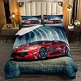 Juego de edredón de coche de carreras para niños, edredón deportivo rojo con temática de deporte extremo, edredón acolchado moderno, juego de cama de 3 piezas con 2 fundas de almohada, tamaño doble