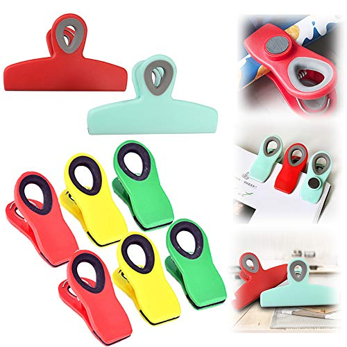 8 PACK Chip Clips Magnetic 2 Large Heavy Duty Chip Clip and 6 Refrigerator Magnet Clips Cook with Color Chip Clips Multicolored Chip Clips for Food Storage Home Kitchen Office School Supplies