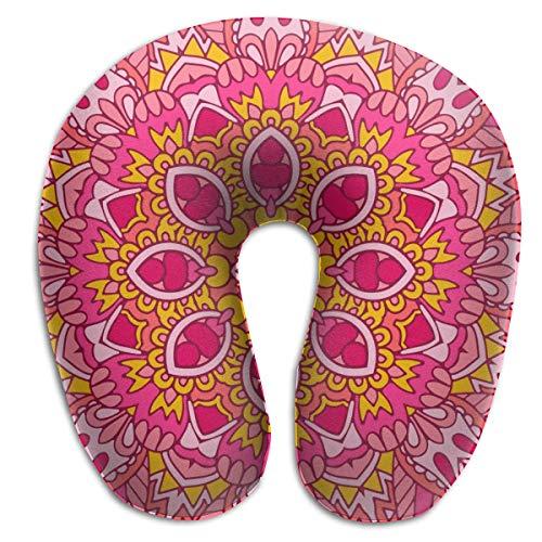 Almohada para el Cuello Étnico Festivo Patrón Floral Abstracto Rosa En Forma de U Almohada de Viaje Diseño ergonómico Contorneado Funda Lavable