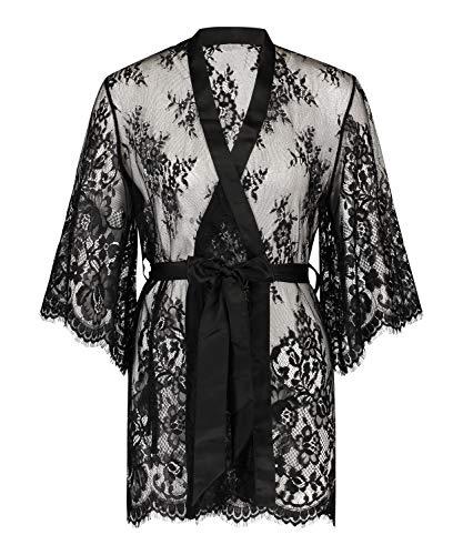 HUNKEMÖLLER Damen Kimono Isabelle aus transparenter Spitzenseide als Detail, mit weiten Ärmeln und Gürtel Schwarz XL/XXL