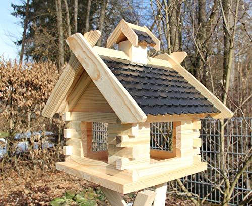 Vogelhaus Vogelhäuser (V07) Vogelfutterhaus Vogelhäuschen-aus Holz-DHL-XXXL Schwarz