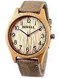 Alienwork Herren Damen Armbanduhr Quarz gelb mit Canvas-Armband grün natürliche Bambus handgefertigt