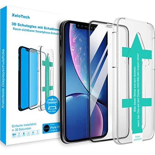 XeloTech 3D/4D Panzerglas für iPhone 11 & iPhone XR mit 6.1 Zoll - Mit Schablone für Positionierung - Full Screen Vollglas-Displayschutz aus 9H Glas - Kampatibel mit Hülle