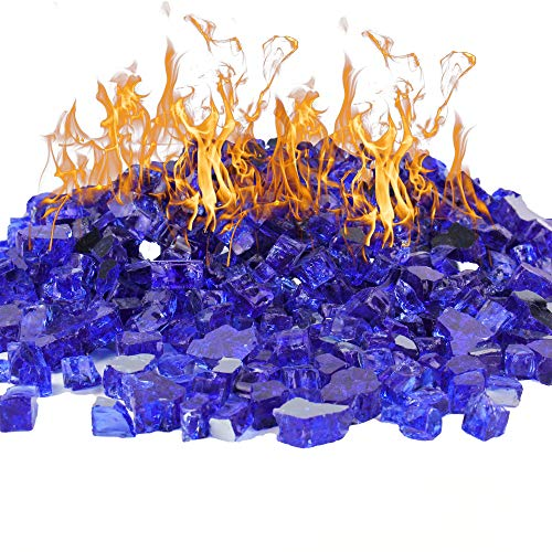CYS EXCEL Cobalt Blue Reflective Fire Pit Glass (Pack of 20 LBS, Approx. 2 SQ. FT.) | Multiple Color Choices Fireplace Tempered Glass Rock Crystals | Decorative Landscaping Glass Pebble Stones
