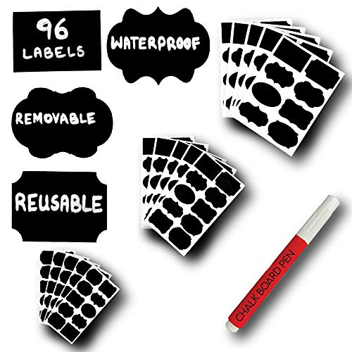 96 Mantah Label Stickers Reusable Waterproof and Refrigerator Safe in Small, Medium and Large Size with Erasable White Chalk Marker for Chalkboard Labels