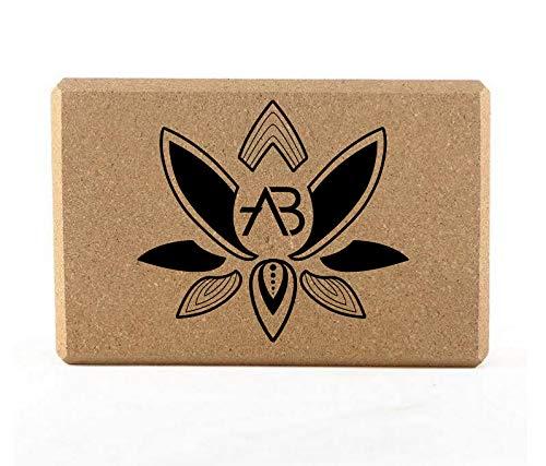 AB Yoga Kork Block einzeln 100% Naturkork | Hatha Kork Klotz Yoga, ökologisch. Fitness, Meditation & Pilates Hilfsmittel für Rücken-Training und Dehnen