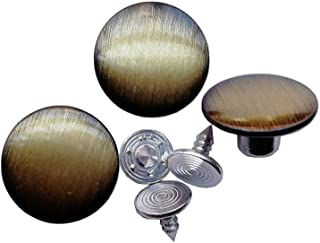 12 Sets 17mm Replacement Jean Buttons Jeans Buttons Metal Kit Suspender Buttons with Rivets and Plastic Storage Box (Brushed Bronze, 17mm)