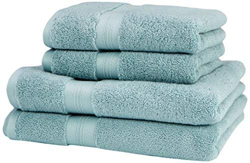 Pinzon - Juego de toallas de algodón Pima (2 toallas de baño + 2 toallas de mano), color azul claro