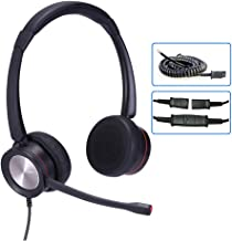 $34 » Corded Phone Headset with Microphone for Office Phones Call Center Telephone Headset Noise Cancelling for Yealink SIP-T28P...