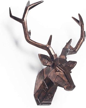 34x28x14cm decoraci/ón de Pared Moderna Cratone Vintage Ciervo Cabeza Escultura De Pared Animal Cabeza Decoraci/ón Resina Statue-Home Estatua Negro
