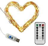 Clauss Clauss10002 - Mini cadena de luces LED con conexión USB y mando a distancia (100 ledes de luz blanca cálida, 10 m, alambre de cobre, 5 V)