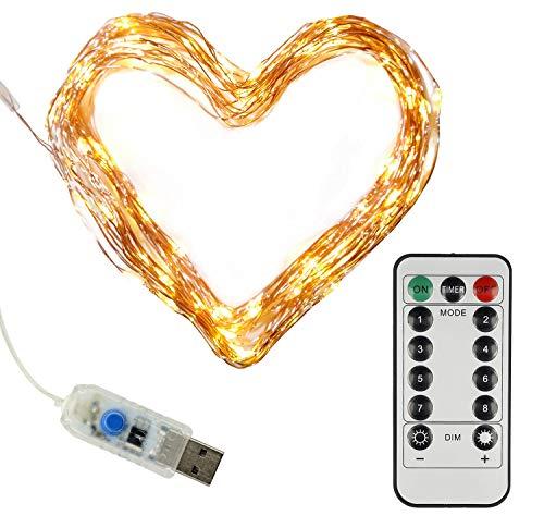 Clauss LED-Mini-Lichterkette mit USB-Anschluss und Fernbedienung, versch. Funktionen, 100 LEDs in warmweiß,10 m, Kupfer-Draht, Innen-Bereich, 5 Volt, Clauss10002