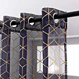 Taisier Home Foil Gold Print Sheer Curtains Navy Voile 84 inches Long Window Curtain Bedroom Geometric Design Ring Top Brainy Pattern 2 Panels,Sheer Navy Blue and Gold Curtains for Boys Room