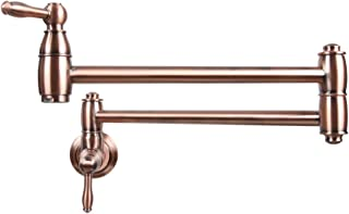 Antique Copper Pot Filler Kitchen Faucet, Wall Mounted Stretchable Double Joint Swing Arm - Five Years Warranty - Akicon