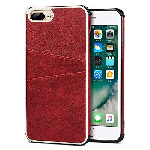 DIMDIM Custodia for iPhone 7 Plus, Custodia a Portafoglio for iPhone 7 Plus, Custodia a Scatto con Retro in Pelle Sintetica PU con 2 Porta Carte di Credito (Color : Red)