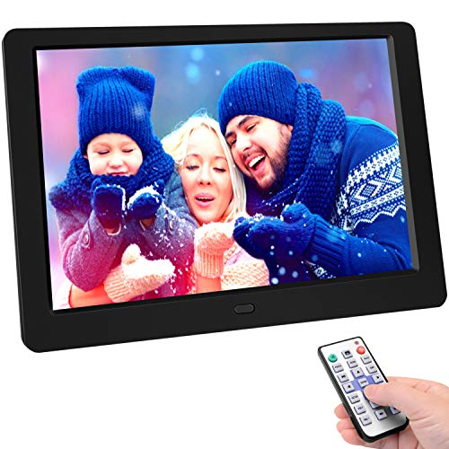 Digital Picture Frame 10.1 Inchinch Digital Picture Frame HD 1280×800 16: 10 Full IPS Display Photo/Music/Video/Calendar, Auto On/Off Timer, Support 32GB USB Drives/SD Card,Remote Control