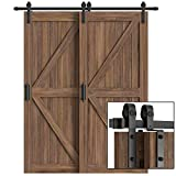 WINSOON 6FT Single Track Bypass Barn Door Hardware Double Doors Kit, Heavy Duty Sliding One Track Antique Roller for Cabinet Closet Fit Double 36' Wide Doors