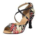 Miyoopark Zapatos de baile de salón de baile para mujer con estampado floral L070, color Negro, talla 36 EU