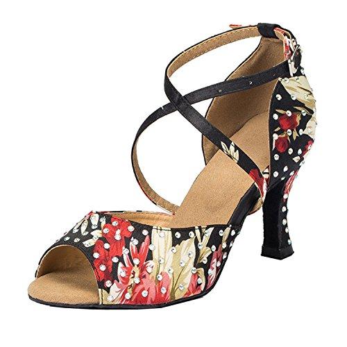 Miyoopark Zapatos de baile de salón de baile para mujer con estampado...