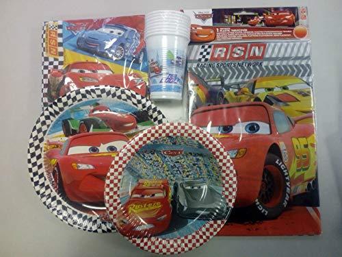 CAPRILO. Lote de Cubiertos Infantiles Cars-Disney (8 Vasos, 8 Platos(20 cm), 8 Platos(23 cm),20 Servilletas y 1 Mantel) .Vajillas y Juguetes para Fiestas de Cumpleaños, Bodas, Bautizos y Comuniones.
