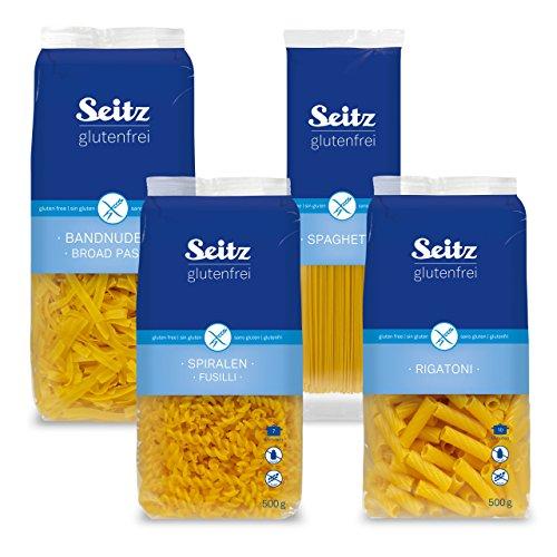 Seitz glutenfrei Nudel Klassiker (4 teilig) - je 500g Bandnudeln,Spiralen, Rigatoni und Spaghetti
