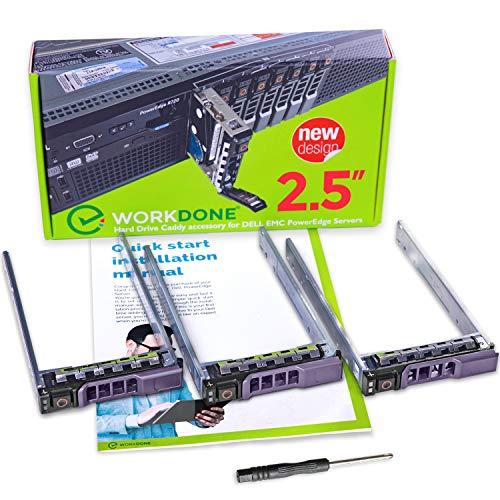 WorkDone 3er Pack - 2,5-Zoll Hard Drive Caddy Tray - kompatibel für Dell PowerEdge Server - R310 R410 R415 R510 R515 R610 M610 T710 R710 M710 R715 R810 R815 R910 M910 - Festplattenrahmen