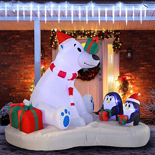 Joiedomi 6 FT Inflatable Polar Bear with Build-in LEDs Blow Up Inflatables for Christmas Party Indoor, Outdoor, Yard, Garden, Lawn Décor, Christmas Giveaway Gifts,Holiday Season Decorations