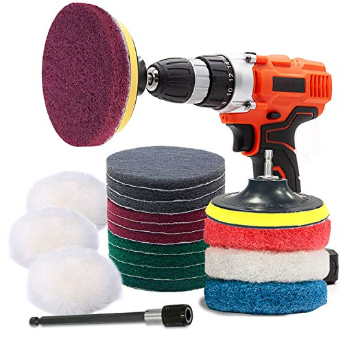 Power Scrubber Pads Kit Drill Attachment, GOH DODD 20 Pieces 4 Inch Drill Brush Scouring Cleaning Pads Great for Kitchen, Bathroom, Auto, Grout, Carpet, Shower, Tub, Grill,Tile, Sanding, Car Headlight