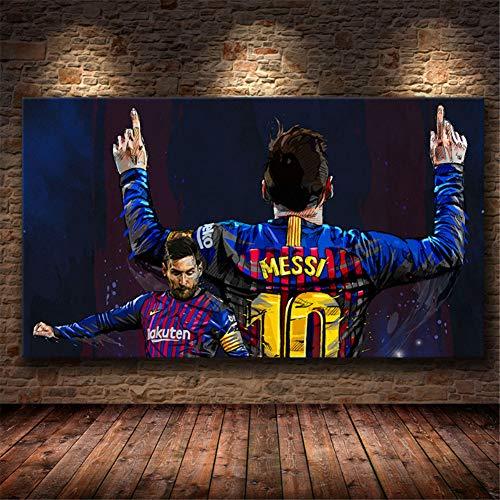 KONGQTE Fútbol Jugador Messi Pared Lienzo Pintura Carteles e Impresiones Cuadros Pared Arte Imagen para Sala de Estar hogar -50x70cm sin Marco