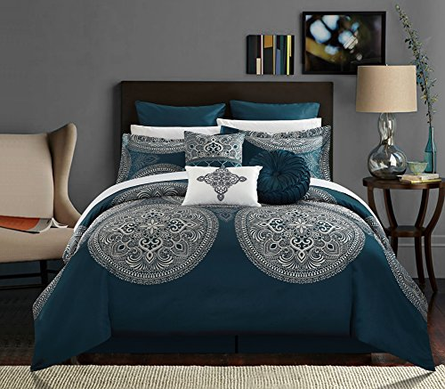 Chic Home 9 Piece Orchard Place Faux Silk Luxury Large Medalion Jacquard with Embroidery Details and Trims King Comforter Set Blue