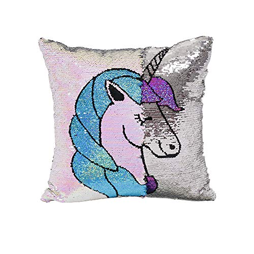 Miracille Unicorn Sequin Pillow Cover Magic Reversible Sequins Pillows Case Mermaid Cushion Covers 16'x16'