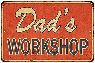 BESTWD Dad's Workshop Vintage Look Reproduction Metal Sign 8x12 inch