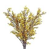 DWANCE 3 Piezas Flores Artificales Amarillos Bebés Flores de Aliento Flores de Seda Plantas de Gypsophila Falsas para el Hogar de la Boda Decoración
