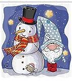 ABAKUHAUS Navidad Cortina de Baño, Muñeco de Nieve y Divertido GNOME, Material Resistente al Agua Du...