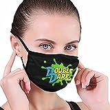 CDKZ Doub-Le D-are - Mascarilla facial unisex de tela lavable, reutilizable, protección facial, color negro