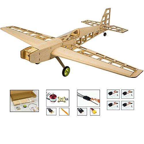 Viloga Balsa Wood Airplane Kits T10 3D RC Plane Kit, 31' Wingspan Laser Cut Fly Aircraft Model Building Kits Unassembled, DIY 4CH Electric RC Airplane Kit for Adults (KIT+Motor+ESC+Servo)