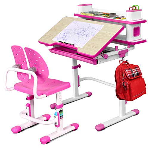 Baby Joy Kids Desk and Chair Set, Height Adjustable, Student Study Table w/Chair Ergonomic Winged Backrest, Children Writing Table with Bookshelf, Storage Drawer and Tilted Desktop (Pink)