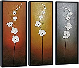Wieco Art Modern Contemporary Flowers Black Framed Artwork Decorative 3 Panels 100% Hand Painted Abstract Floral Oil Paint...