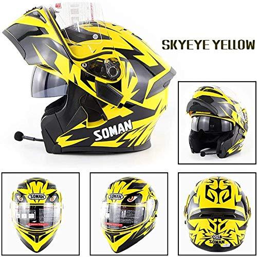 ZHXH Motocross Helm Bluetooth/Männer und Frauen Four Seasons Schutzhelm/Stereo Klangqualität (s, M, L, Xl, Xxl)