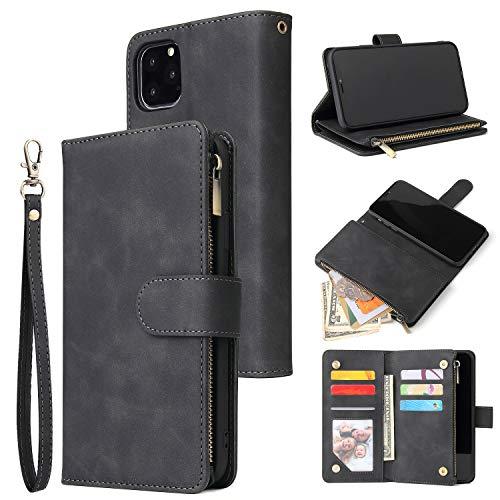 UEEBAI Wallet Case for iPhone 11, Premium Vintage PU Leather Magnetic Closure Handbag Zipper Pocket Case Kickstand Card Holder Slots with Wrist Strap TPU Shockproof Flip Cover for iPhone 11 - Black
