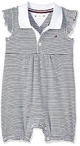 Tommy Hilfiger Baby Girl Stripe Shortall S/s Body, Azul (Blue 0A4), Talla única (Talla del Fabricante: 74) para Bebés