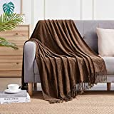 Bourina Chenille Throw Blanket with Decorative Fringe for Couch Sofa Chair Blanket (50x60 Inches) Brown