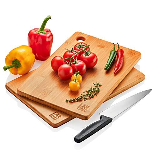 Tablas De Cortar Cocina en Madera Premium Extra-Gruesas - Juego de 2 Piezas en Madera de Bambú Para Picar - Certificación FSC y LFGB - Ideal Para Carnes, Verduras, Queso y Pan