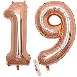 2 Globos Número 19 Años, Number 19 Globo Chica de oro rosa, 40'Figuras de globos con globo de lámina de helio inflable, Globo gigante para la decoración de la fiesta de cumpleaños, Prom (xxxl 100cm)
