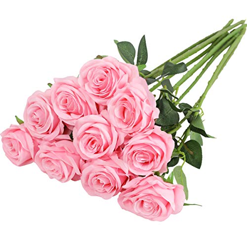 Nubry Flor de Rosa de Seda Artificial de un Solo Tallo de Rosa Falsa para el Ramo de Bodas Arreglos Florales Decoración del Centro de Mesa para Fiestas en casa, 10pcs (Rosa)