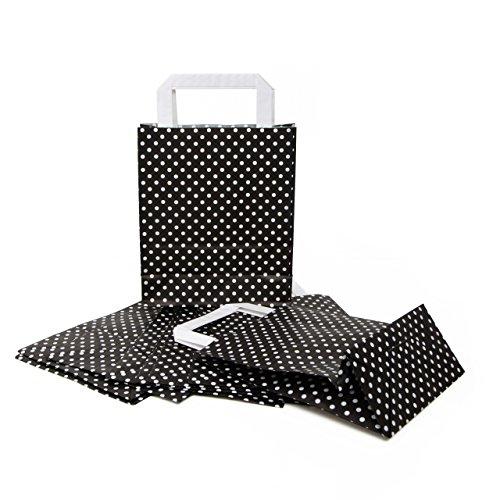 10 kleine schwarz weiß gepunktete Papiertasche Weihnachten Verpackung Geschenktasche Henkel 18 x 8 x 22 cm Tüten give-away Mitgebsel Geschenk-Verpackung Geschenktüten