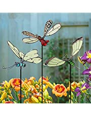 Vlinder tuin Haufen Decoratie, libelle hoop, kolibrie verlichting in het donker metaal erf kunst, binnen en buiten gazon pad decoraties, 20 inch (3 stuks set)