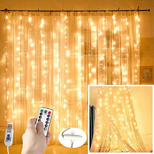 QUETA LED Vorhang Lichterkette, 300 Micro LED Lichterketten 3 Meter Kupferkabel für Party/Garten/Weihnachten/Halloween/Hochzeit Deko, 8 Leuchtmodi mit Fernbedienung, USB Stecker (Warmweiß)
